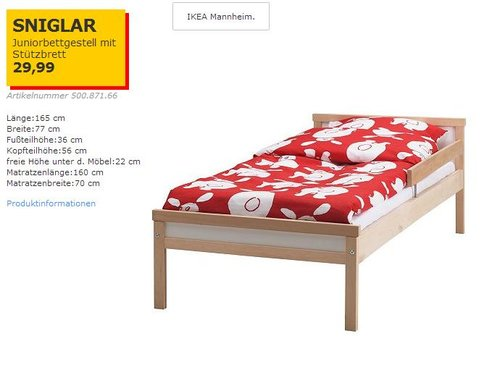 IKEA  SNIGLAR Juniorbettgestell mit Lattenrost, 70x160 cm,  Buche - jetzt 25% billiger
