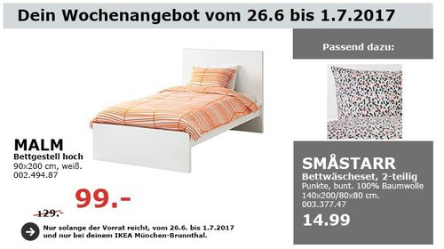 IKEA MALM Bettgestell hoch, 90x200 cm, weiß - jetzt 23% billiger