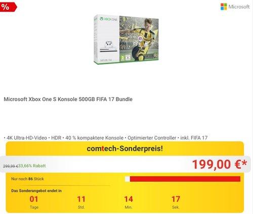 Microsoft Xbox One S Konsole 500GB FIFA 17 Bundle - jetzt 13% billiger