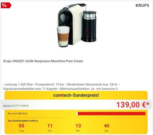 Krups XN2601 Nespresso Umilk Kaffeekapselmaschine Pure Cream - jetzt 19% billiger