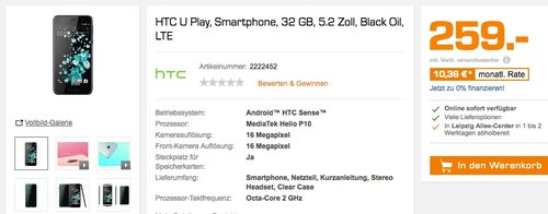 HTC U Play, Smartphone, 32 GB, 5.2 Zoll - jetzt 13% billiger