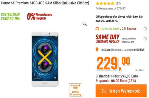 Honor 6X Smartphone (13,97 cm (5,5 Zoll) Display, 64GB Speicher, Android 6.0) silber - jetzt 16% billiger