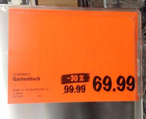 Florabest Gartentisch, 150x74x90 cm - jetzt 30% billiger