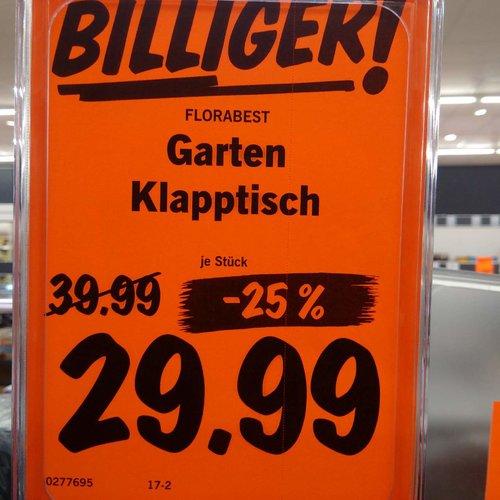 Florabest Garten-Klapptisch, 114x80x73 cm, anthrazit - jetzt 25% billiger