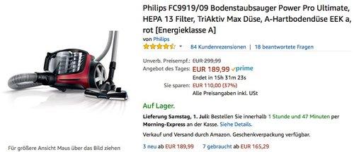 Philips FC9919/09 Bodenstaubsauger Power Pro Ultimate - jetzt 17% billiger