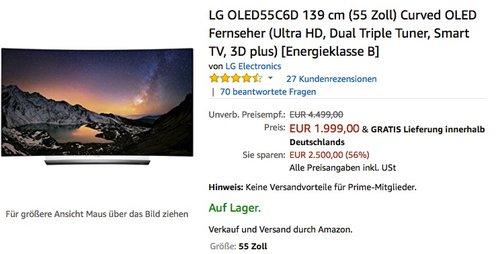 LG OLED55C6D 139 cm (55 Zoll) Curved OLED Fernseher (UHD 4K, 3D) - jetzt 23% billiger