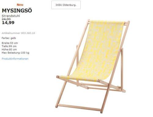 IKEA MYSINGSÖ Strandstuhl, 53x99 cm,80 cm hoch, 100 kg max. Belastung, gelb - jetzt 40% billiger