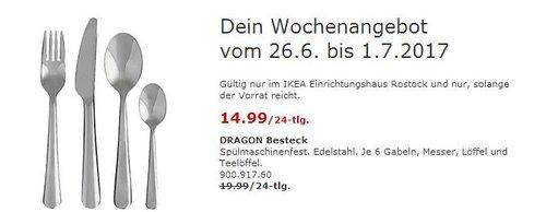 IKEA DRAGON Besteck. Edelstahl. 24-tlg. Je 6 Gabeln, Messer, Löffel und Teelöffel. - jetzt 25% billiger