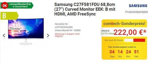 Samsung C27F581FDU 27 Zoll Curved Monitor - jetzt 16% billiger