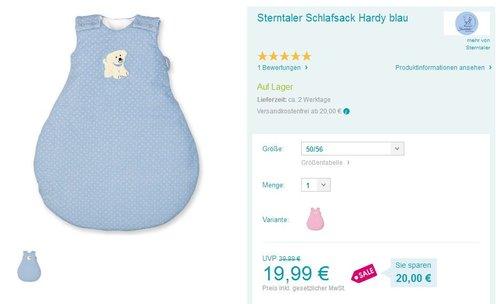 Sterntaler Baby-Schlafsack Hardy - jetzt 46% billiger