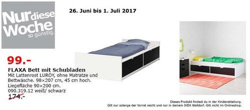 IKEA FLAXA Bett mit Schubladen und Lattenrost, 90x200 cm, weiß/schwarz - jetzt 43% billiger