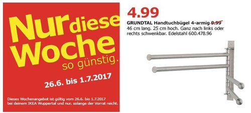 IKEA GRUNDTAL Handtuchhalter 4-armig, edelstahl - jetzt 50% billiger