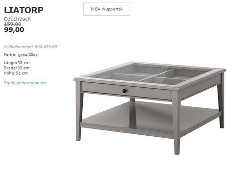 IKEA LIATORP Couchtisch, 93x93 cm, 51 cm hoch, grau/Glas - jetzt 38% billiger