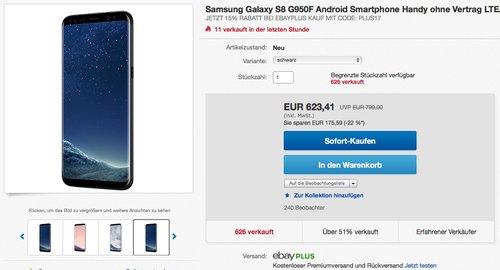 Samsung Galaxy S8 G950F 64 GB - jetzt 14% billiger