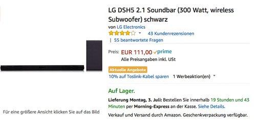 LG DSH5 2.1 Soundbar (300 Watt, Wireless Subwoofer) schwarz - jetzt 20% billiger