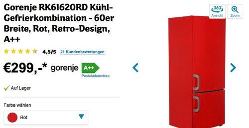 Gorenje RK61620RD Kühl-Gefrier-Kombination Rot - jetzt 26% billiger