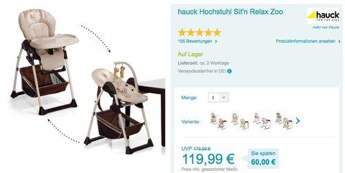 Hauck Sitn Relax Zoo - Babyliege und Hochstuhl - jetzt 3% billiger