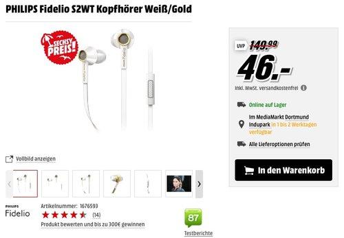 Philips Fidelio S2WT Premium InEar Kopfhörer - jetzt 45% billiger