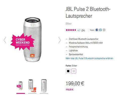 JBL Pulse 2 Bluetooth-Lautsprecher - jetzt 15% billiger