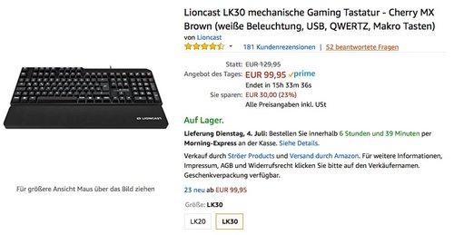 Lioncast LK30 mechanische Gaming Tastatur - Cherry MX Brown - jetzt 15% billiger