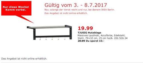 IKEA  TJUSIG Hutablage, 79x32 cm, 25 cm hoch, schwarz - jetzt 33% billiger