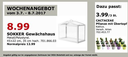 IKEA  SOCKER Gewächshaus, drinnen/draußen, 45x22 cm, 35 cm hoch weiß - jetzt 31% billiger