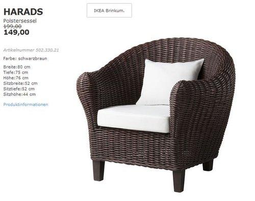 IKEA  HARADS Polstersessel, Rattan/Akazie, 80x75 cm, 76 cm hoch, schwarzbraun - jetzt 25% billiger