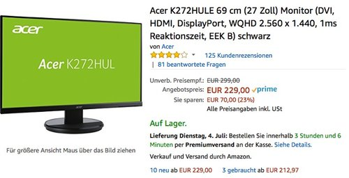 Acer K272HULE 69 cm (27 Zoll) Monitor - jetzt 10% billiger