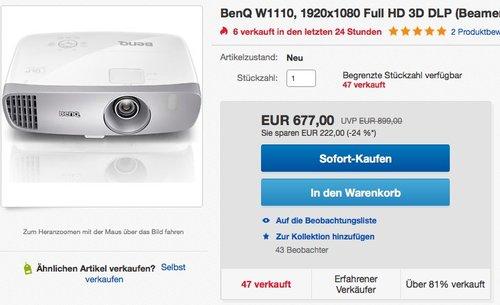 BenQ W1110 3D Heimkino DLP-Projektor - jetzt 6% billiger