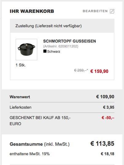 Staub La Cocotte Gusseisen-Bräter/Schmortopf rund mit Deckel 28 cm, 6,70 L - jetzt 28% billiger