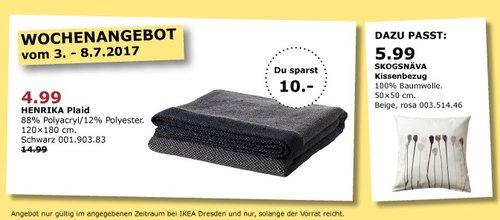 IKEA HENRIKA Plaid, 120x180 cm, schwarz - jetzt 67% billiger