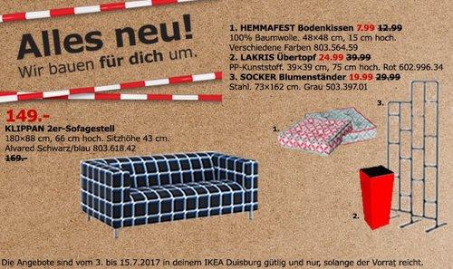 IKEA KLIPPAN 2er-Sofa, 180x88 cm, 66 cm hoch, 43 cm Sitzhöhe, Alvared schwarzblau - jetzt 12% billiger