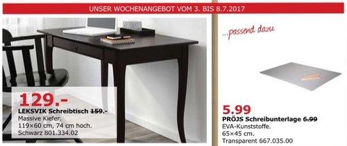 IKEA LEKSVIK Schreibtisch, massive Kiefer, 119x60 cm, 74 cm hoch. - jetzt 19% billiger