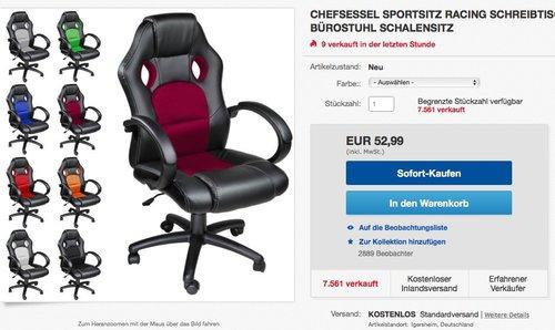 TecTake Sportsitz Chefsessel Stuhl Bürostuhl Racing Schalensitz - jetzt 18% billiger