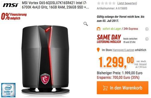 MSI Vortex G65-6QDSLIi7K16SR421 i7-6700K 16GB 1256GB 2xGTX960 Win10 - jetzt 14% billiger