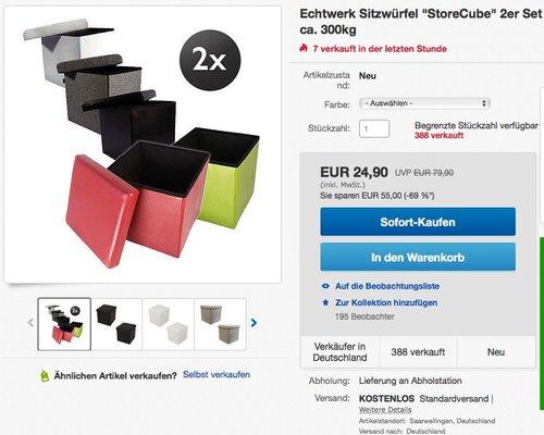"""Echtwerk Sitzwürfel """"StoreCube"""", Aufbewahrungsbox, faltbar, circa 38 x 38 x 38 cm, Kunstleder - jetzt 23% billiger"""