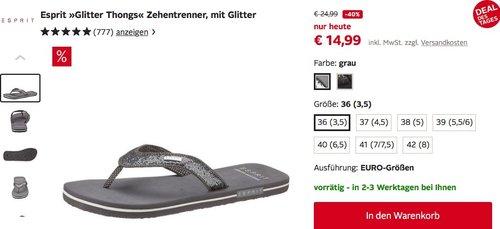ESPRIT Glitter Thongs Damen Zehentrenner - jetzt 28% billiger