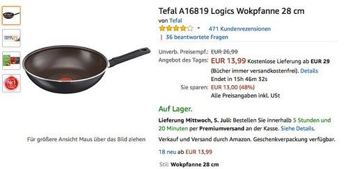 Tefal Logics Wokpfanne 28 cm - jetzt 35% billiger