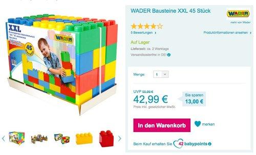 WADER Bausteine XXL 45 Stück - jetzt 13% billiger