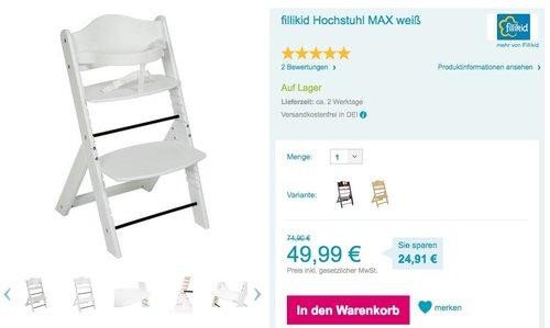 Fillikid Hochstuhl Max Weiss - jetzt 26% billiger
