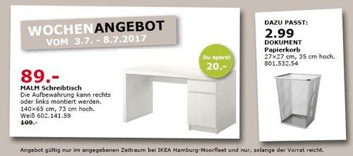 IKEA MALM Schreibtisch, 140x65 cm, 73 cm hoch - jetzt 18% billiger