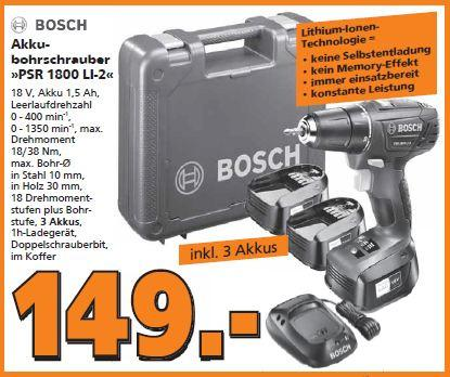 Bosch Akku-Bohrschrauber PSR 1800 Li-2 mit 3. Akku - jetzt 12% billiger