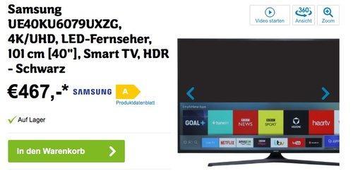 Samsung UE40KU6079UXZG 101 cm (40 Zoll) Fernseher - jetzt 15% billiger