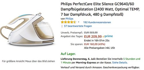 Philips PerfectCare Elite Silence GC9640/60 Dampfbügelstation - jetzt 19% billiger