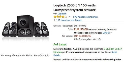 Logitech Z506 5.1 150 watts Lautsprechersystem - jetzt 31% billiger