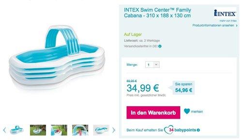 Intex Planschbecken 3 Ring Pool 310 x 188 cm Kinderpool mit Sprühbogen - jetzt 19% billiger