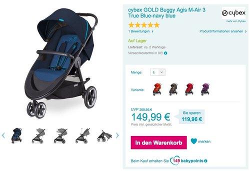 Cybex GOLD Buggy Agis M-Air 3 True Blue-navy blue - jetzt 23% billiger