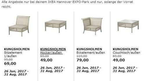 IKEA KUNGSHOLMEN Sitzelement /außen, hellgrau - jetzt 30% billiger