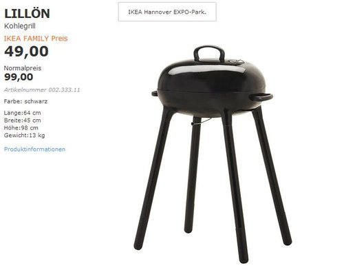 IKEA LILLÖN Kohlegrill - jetzt 51% billiger