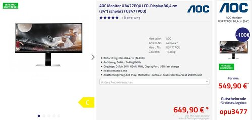 AOC U3477PQU 86,7 cm (34 Zoll) Monitor - jetzt 15% billiger